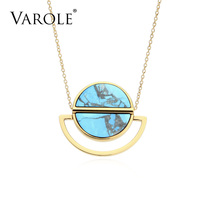 VAROLE Trendy 18in Natural Stone Pendant Necklace Charm Necklaces & Pendants Collares Mujer Choker Kolye Bijoux Femme