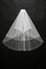 voile mariage bridal veil 2017 two layers veils for bride Beaded white wedding veil Veus de noiva cathedral wedding veil