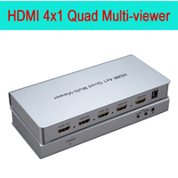 HDMI 4x1 Quad Multi viewer four HD screen segmentation seamless switching output switch full 1080P 3D IR For HDTV DVD PS3 STB PC