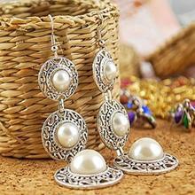 Women's Fashion Jewelry Boho Vintage Pearl on Alloy Circle Chandelier Earrings