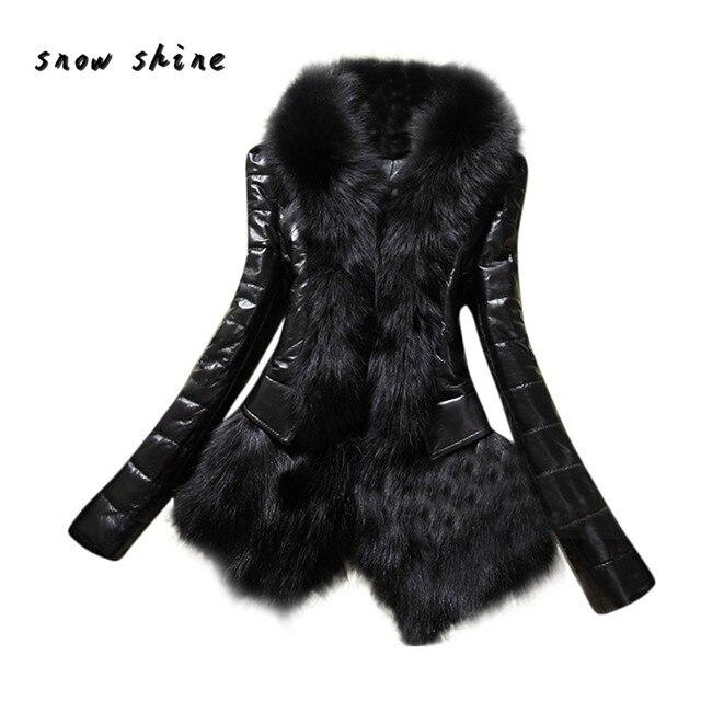 Snowshine #3001 Новый Конструктор Женщины Теплый Меховой Воротник Пальто Кожа Толстая Куртка Шинель куртка бесплатная доставка