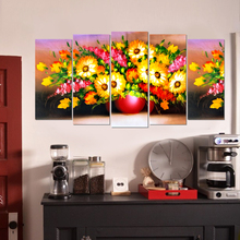 Traditional canvas painting flower still life art prints 5 psc Europe wall picture for parlor hotel restaurant bedroom lobby bar