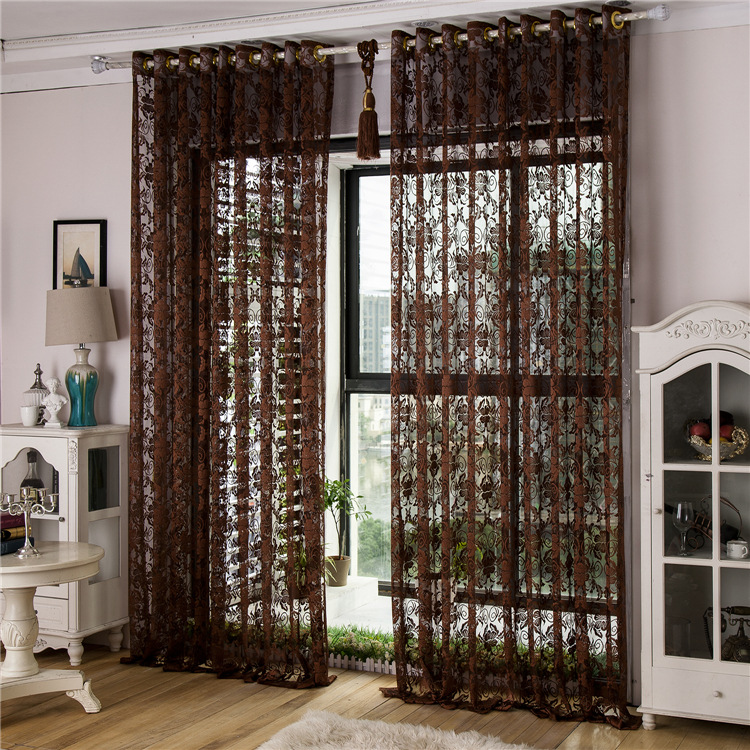 Hollow Carved Jacquard Luxury Living Room Curtains Kitchen Voile Crochet Divider Factory Direct Brown