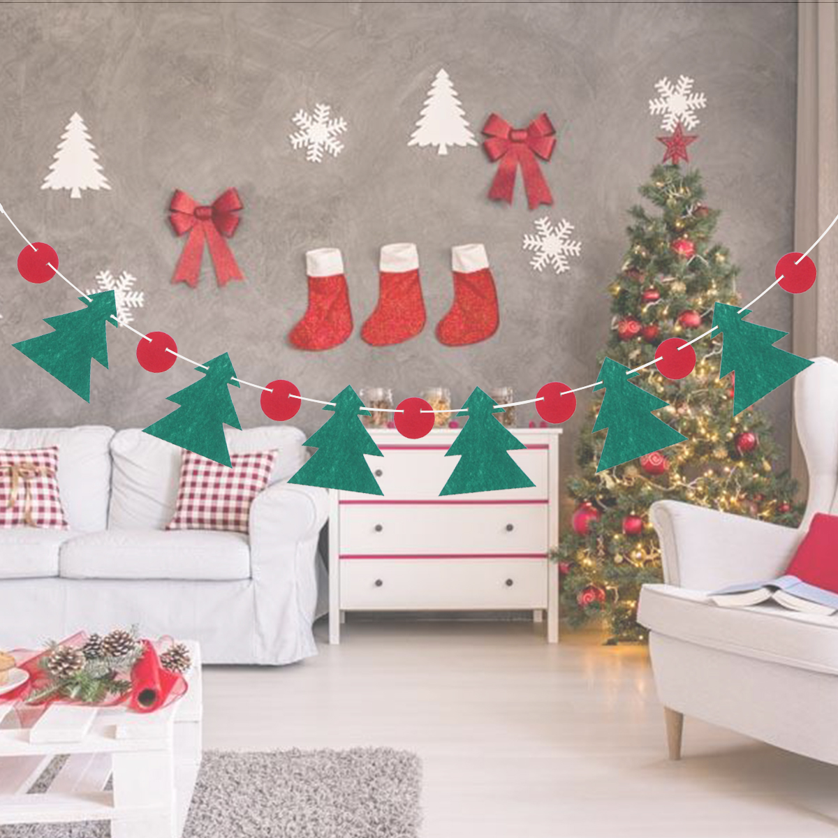 RED Felt SNOWFLAKE Cutout Design 100cm PRD Nordic Style CHRISTMAS Table Runner RED or WHITE