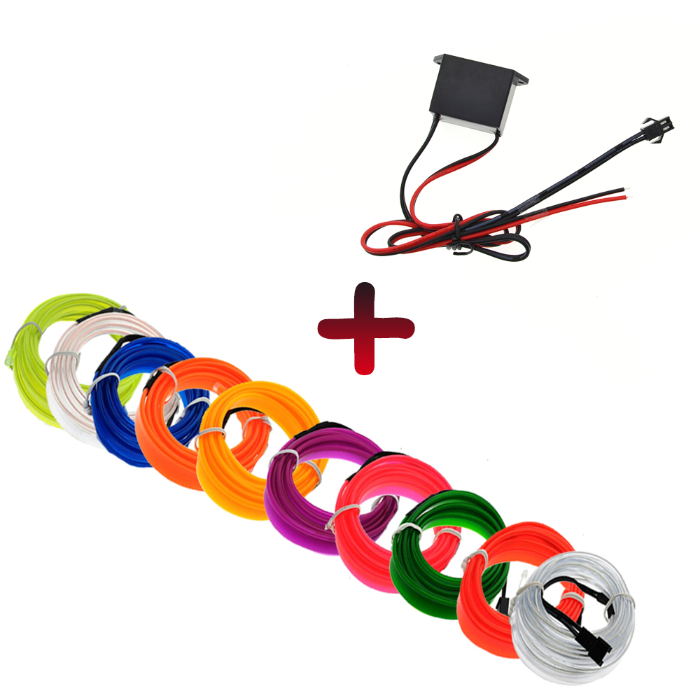 цены 1m/2m/3m/5m Car inverter EL Wire Neon Lights Dance Festival led strip EL lights With DC12V driver 2.3 MM with 6 MM sewing edge