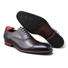 QYFCIOUFU 2019 New Men's Formal Dress Shoes Fashion Genuine Leather Handmade Oxford Shoe Wedding Office Footwear Patina Zapatos