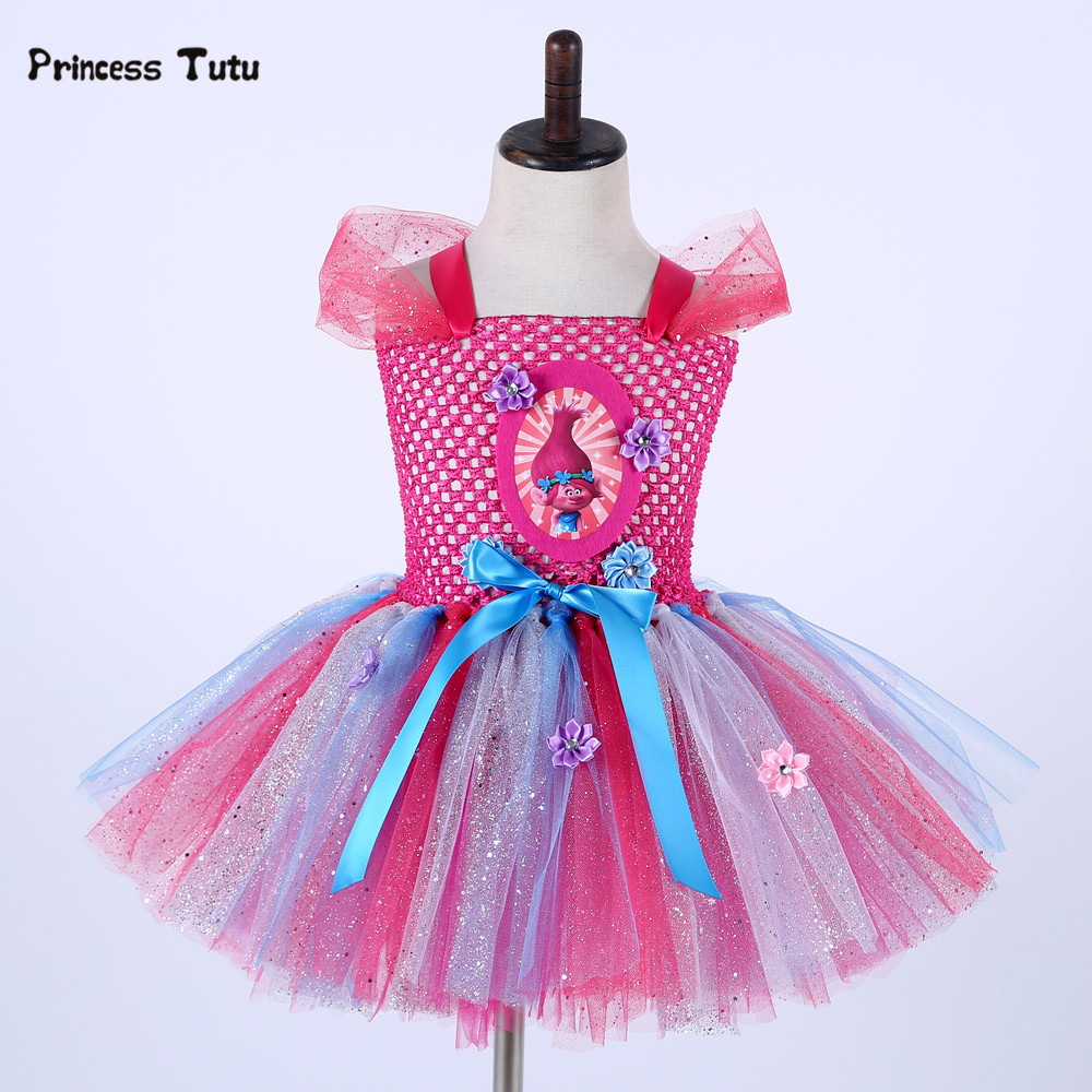 Cartoon Girl Trolls Poppy Dress Tulle Princess Tutu Dress Kids Halloween Cosplay Costume Baby Girl Festival Birthday Party Dress fancy girl mermai ariel dress pink princess tutu dress baby girl birthday party tulle dresses kids cosplay halloween costume