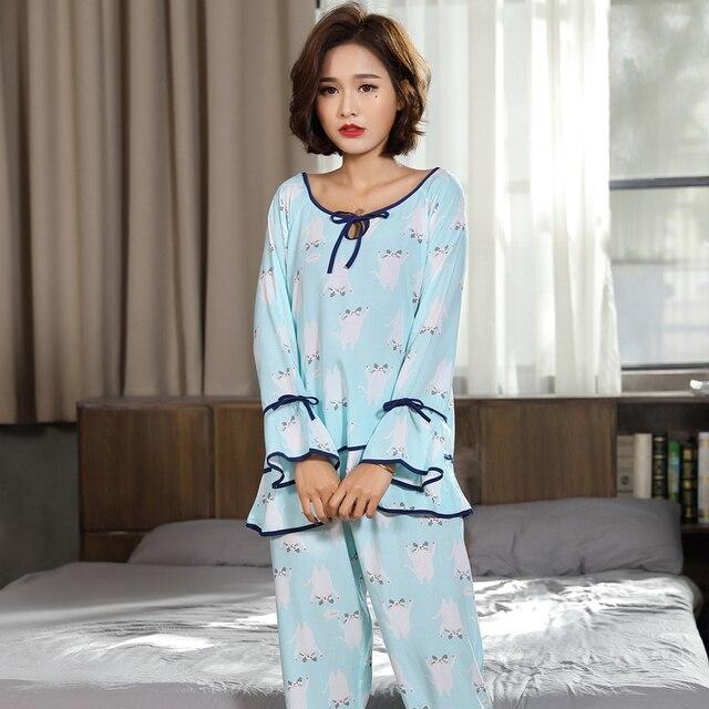 Pajama Set Two Pieces Cute Print Sleepwear Tops + Long Pants Nighties Nightwear  womens summer pajamas 53733a43f