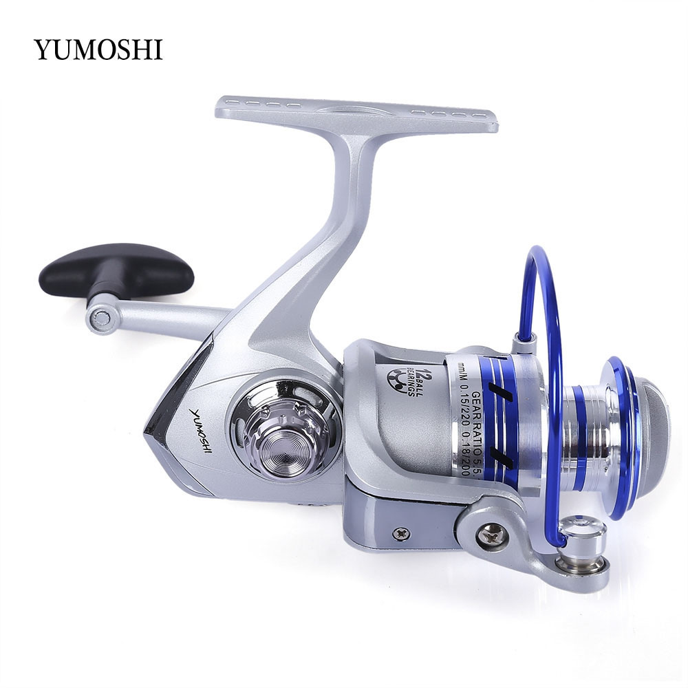 YUMOSHI AF1000-7000 12BB Gear Ratio 5.5:1 Half Metal Fishing Spinning Reel Machined aluminum Spool with Exchangeable Handle