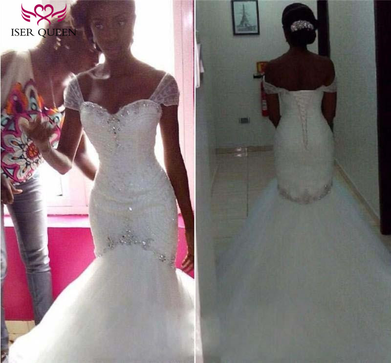 Africa Custom Made Charming Crystal Beading Pleat  Pure White Mermaid Wedding Dress 2020 Wedding Gown Wedding Dresses W0228