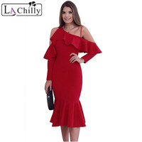 La Chilly Winter Dresses Women 2017 Christmas Red Black Sexy Asymmetric Slope Shoulder Mermaid Ruffle Long