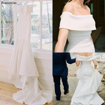 Off Shoulder Mermaid Wedding Dresses 2020 Wrap Zipper Back Sleeveless Sweep Train Modest Cheap Bridal Gowns Vestido De Novia