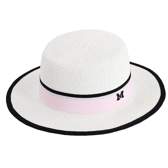 55829d4e4cc Lady Boater sun caps Ribbon Round Flat Top Straw beach hat Panama Hat  summer hats for women straw hat snapback gorras