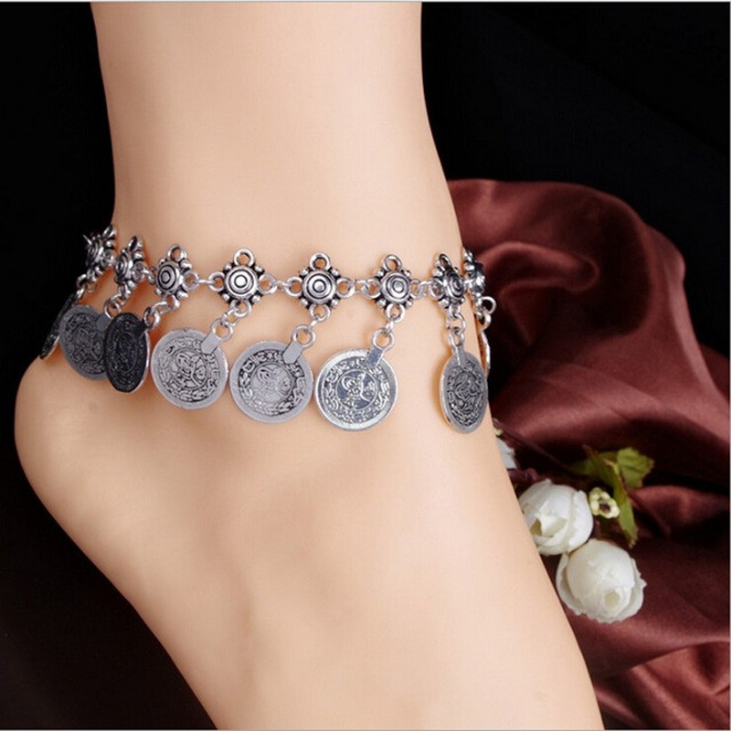 Wholesale Exaggerated Retro Style Metal Coin Fringed Anklet Simple Style Beads Anklets Chains Vintage Jewellery For Women Girl