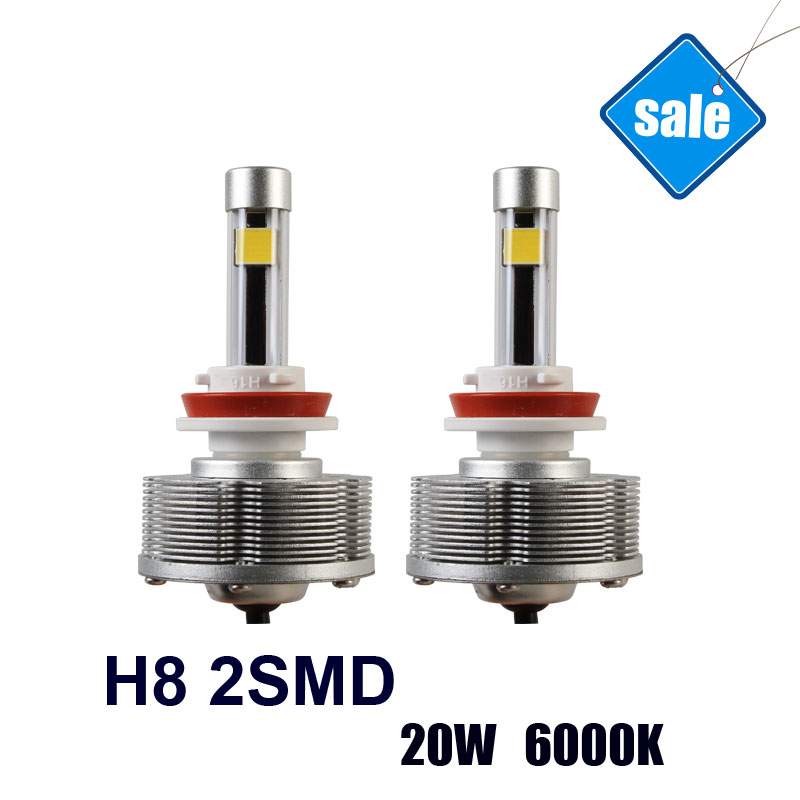 ФОТО  H8 Trucks LED External Lights Fog Lamps Car Bulbs Easy Install H8 2SMD Factory Sale Brightest 20W 6000K 2400LM white Lights
