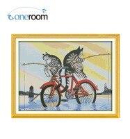 . Oneroom Die Fischerei Katze Muster Gezählt Kreuzstich 11CT 14CT Kreuzstich Sets Großhandel kreuzstich Kits