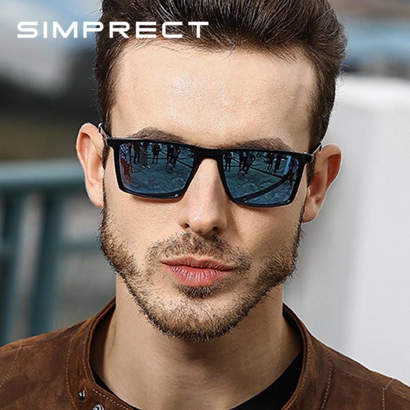 SIMPRECT 2019 Square Sunglasses Men Polarized Mirror Retro Vintage Sunglasses For Men Sun Glasses Anti-Glare Driver'S Oculos
