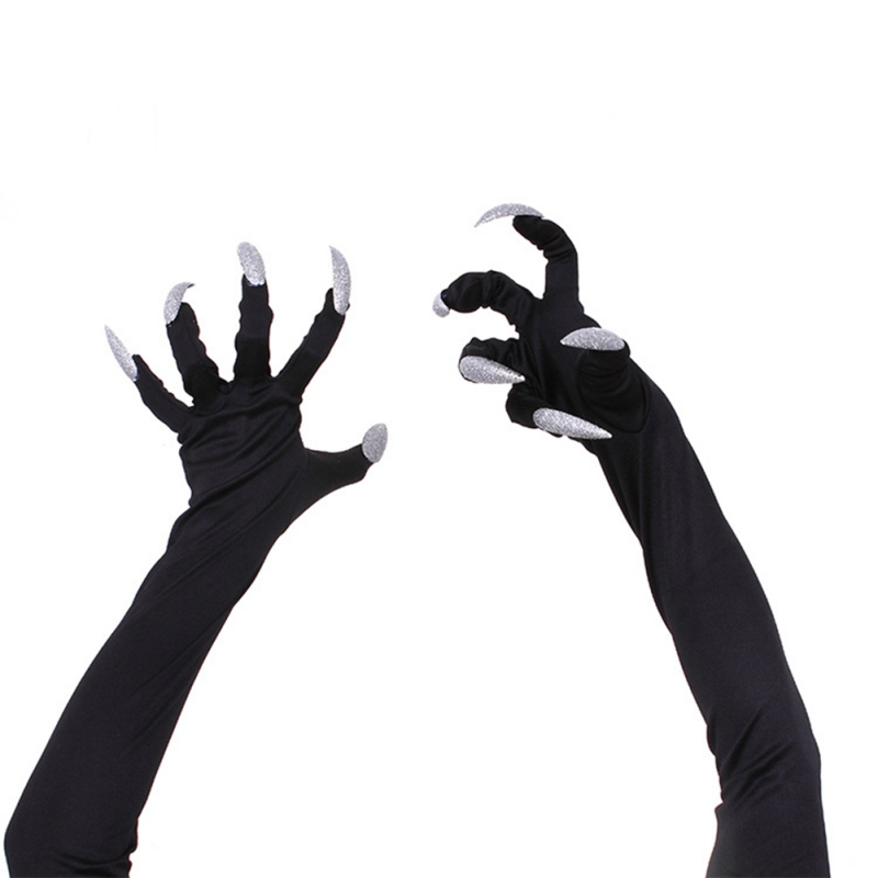 Cycling Glove Halloween Party Cosplay Props Accessories Long Fingernail Claw Black Milk Silk Glove Punk White Nails Bike Glove