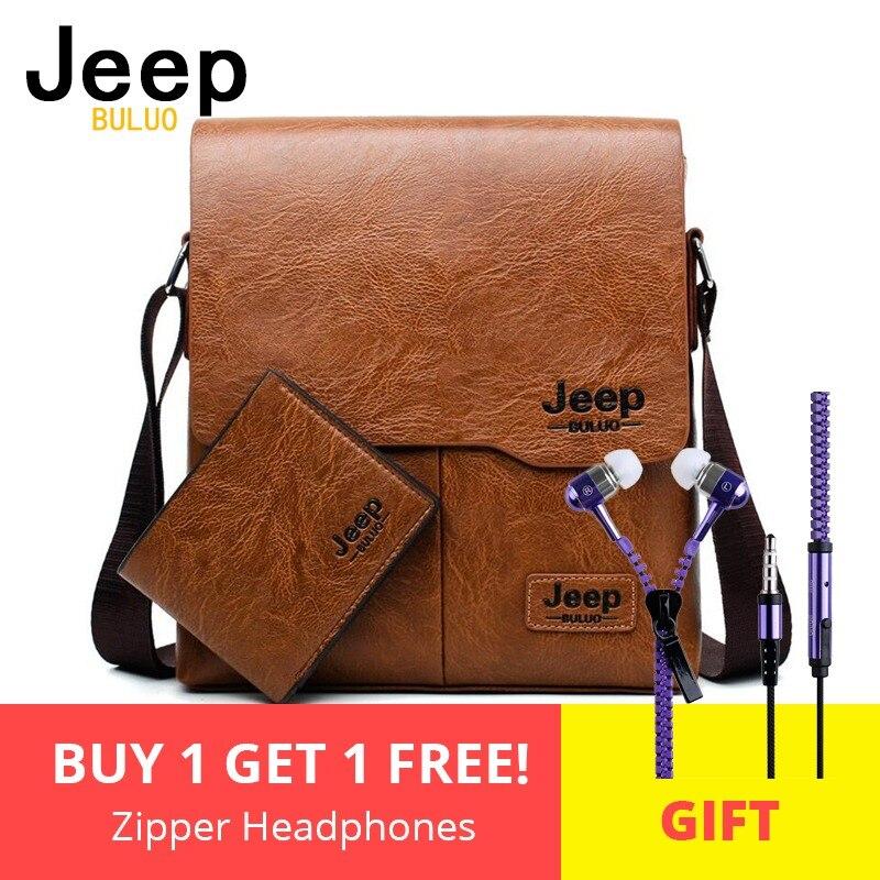 5d58e4f5c444 Для мужчин сумки комплект Jeep buluo известный Фирменная Новинка модная  мужская кожаная сумка мужской Креста тела