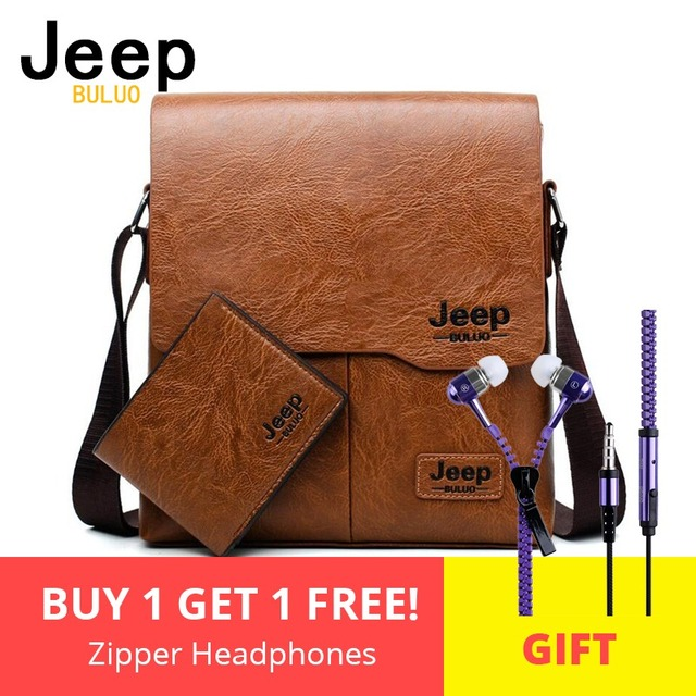 729b58bc3e7e Для мужчин сумки комплект Jeep buluo известный Фирменная Новинка модная мужская  кожаная сумка мужской Креста тела
