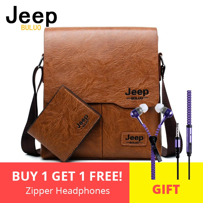 Menn Tote Bags Set JEEP BULUO Berømte Brand New Fashion Man Leather Messenger Veske Mann Cross Body Shoulder Business Vesker For Menn