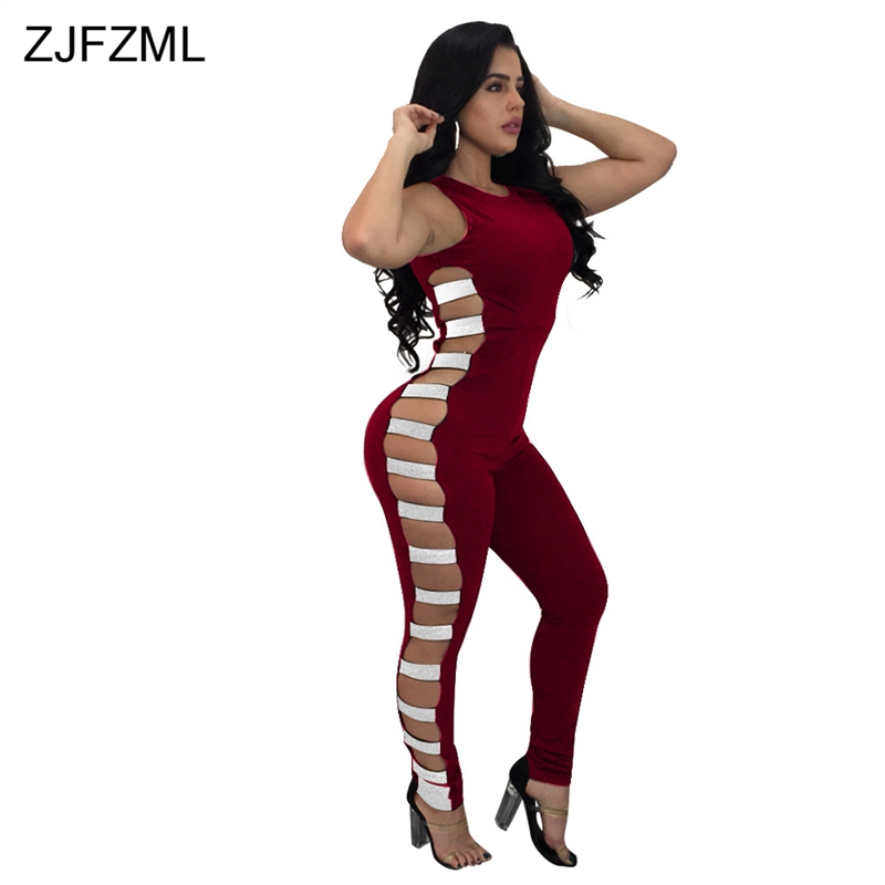 ZJFZML Single Sequins Lace Up Sexy Club Party Jumpsuit Back Zipper Bodysuit Hollow Skinny Jumpsuits And Rompers For Women