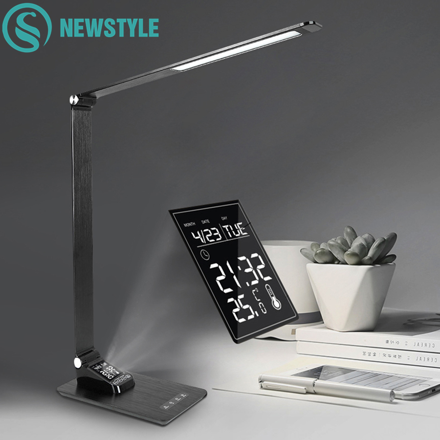 Multifunctional Foldable Touch Desk Lamp Dimmable LED Reading Light Table Lamp With Digital Display Screen Alarm Clock Function