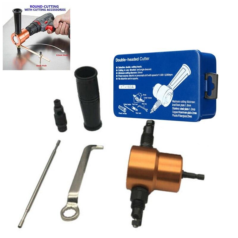 Double 2 Head Metal Sheet Cutter Nibbler Drill Attachment Cutting Tool DIY Kit