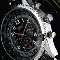 Jaragar relógio de luxo 6 mãos automático mecânica relógios dos homens de aço inoxidável relógio de pulso navio livre