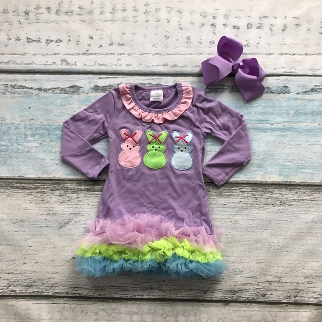 Easter cotton design new baby girls kids boutique clothing eatser bunny dress sets with matching accessories headband set