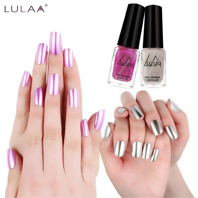 LULAA 5 Colors Fashion Metallic Nail Polish Long Lasting Matte Effect Makeup Sliver Nails Art Nail Polish Mirror Gel Nail Beauty