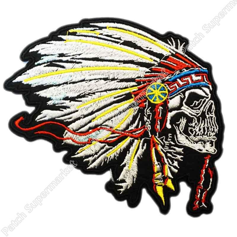 buy 5 large feathered indian chief head death skull motocycle mc biker vest. Black Bedroom Furniture Sets. Home Design Ideas