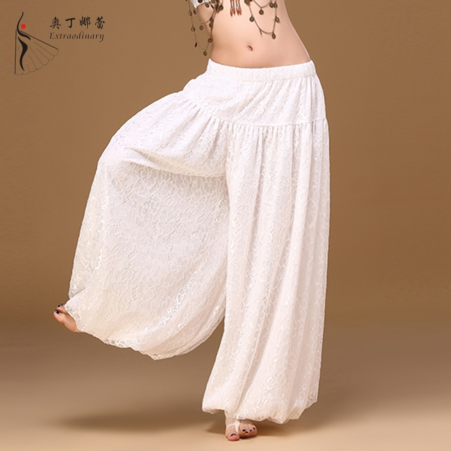 Women Dance Pants White Elastic Waist Lace spandex Belly Dancer Pants Wide Leg Loose Long Trousers Bloomers Gypsy Pants