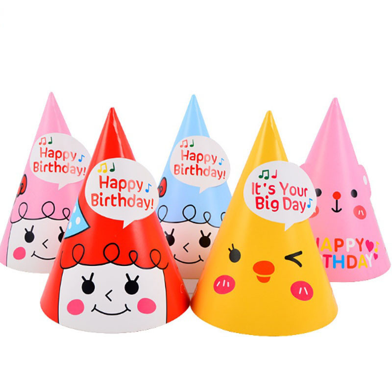 Happy Birthday Paper Cone Hats Dress Up Girls Boy Birthday Party Hats Halloween Fancy Dress Decor
