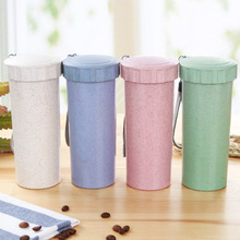 Candy Color Mini Colorful Wheat Straw Water Bottle With String Sport Office School Bottles LeakProof Healthy Kid BPA Free Kettle