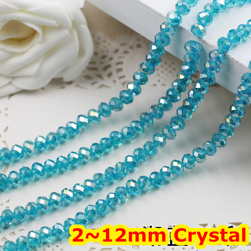 Aquamarine AB Color 2mm,3mm,4mm,6mm,8mm 10mm,12mm 5040# AAA Top Quality loose Crystal Rondelle Glass beads