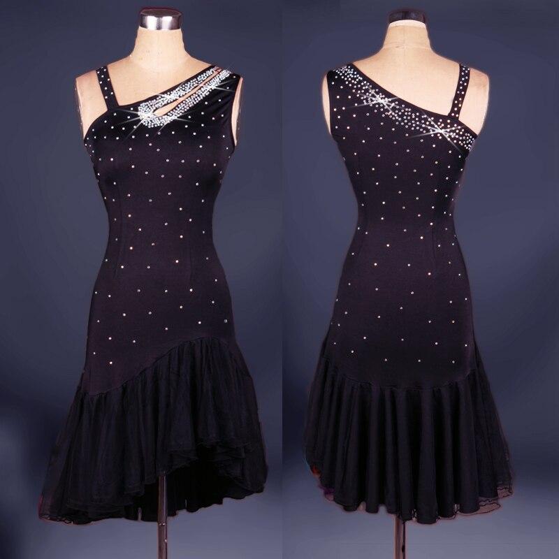Robe de danse latine diamant salsa tango concours de salle de bal groupe robe de danse sexy femmes plissées costumes de pratique
