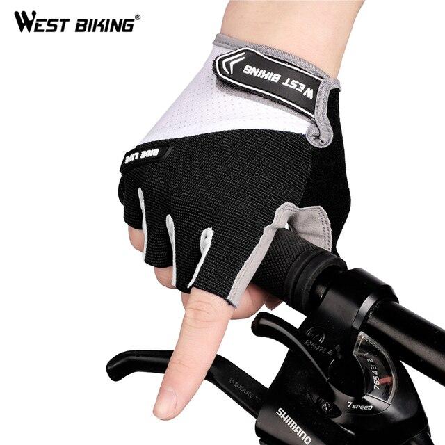 Luvas sem dedos para ciclismo WEST BIKING, luvas esportivas respiráveis antiderrapante para MTB, road bike e motocicleta 2