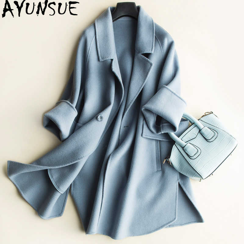 AYUNSUE Casual 100% Wool Coat Female Autumn Winter Jacket Women Double side Wool Women's Spring Jackets abrigo mujer CS1712