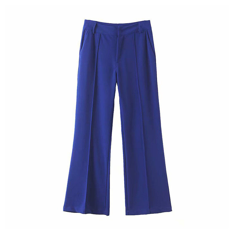 Women style blue   wide     leg     pants   pockets zipper fly design office wear full length trousers female casual 2019 autumn pantalones