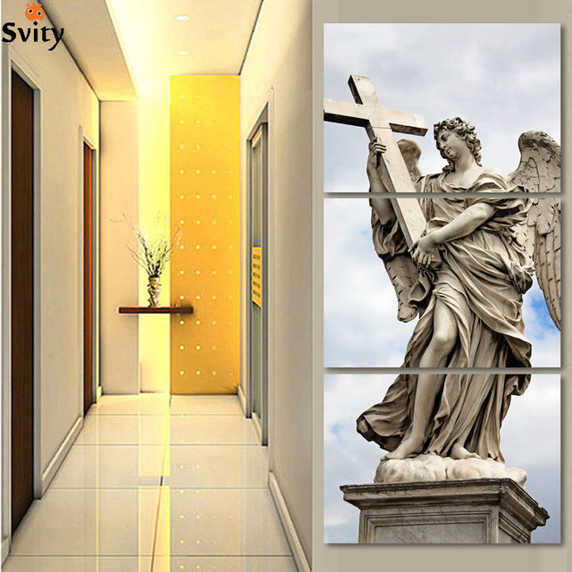 Large modern 3 piece cross religious canvas wall art picture oil ...