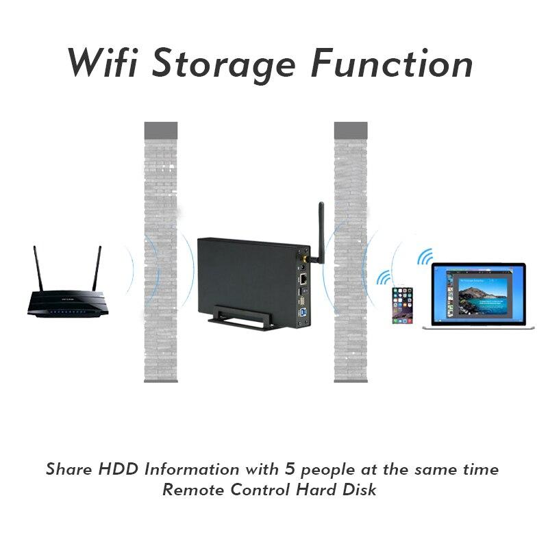 Disque dur externe DISQUE DUR Nas Wifi Antenne Sans Fil wifi Sata USB 3.0 wifi HDD Interface de DISQUE DUR En Aluminium Boîte 3.5 caddy-en HD - 6