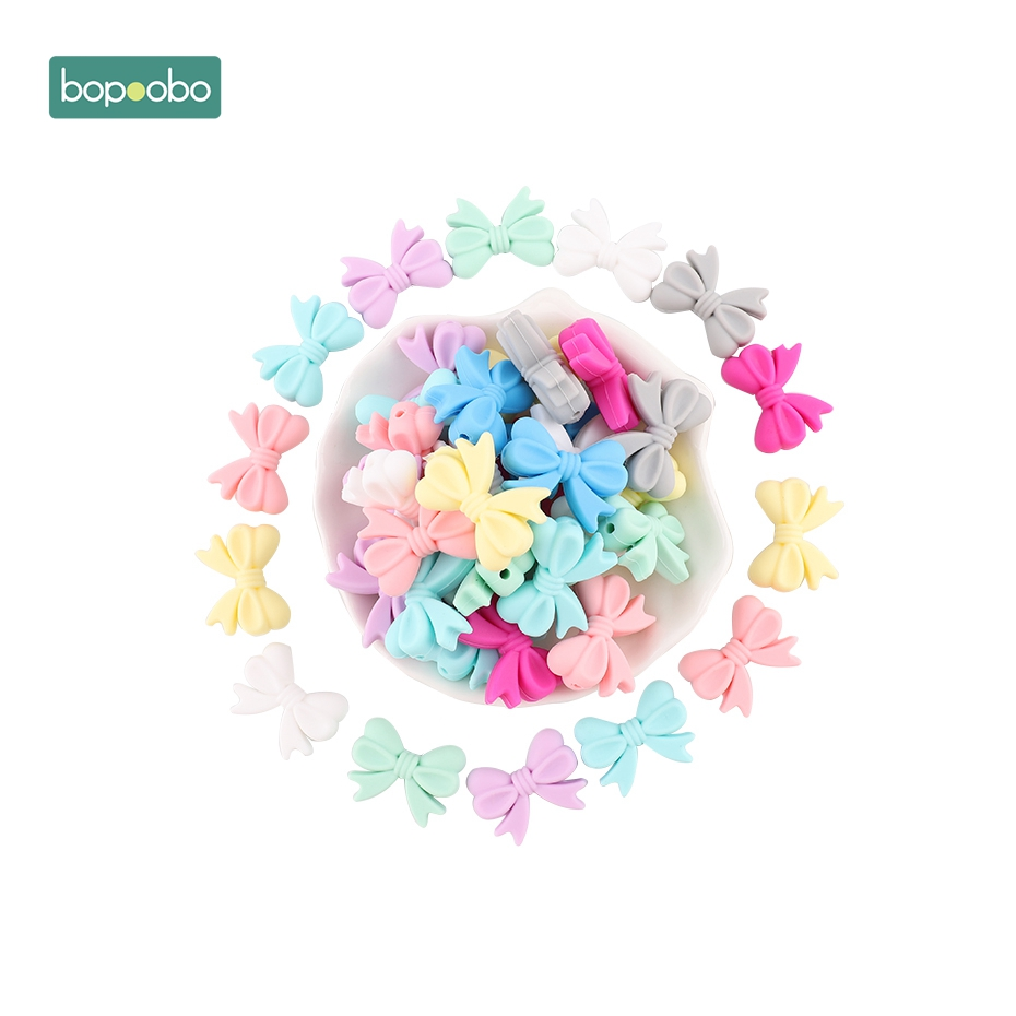 Bopoobo 10pc Baby Teether Mini Silicone Bow Small Tie Food Grade Teether Holes DIY Beads 2cm Rosette BPA Free Silicone Beads