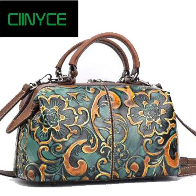 2018 Designer Fashion Brand Original Handmade Genuine Cow Leather Women S Totes Satchel Handbags Fl Vintage Crossbody