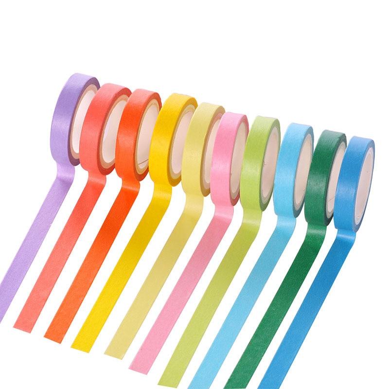 10 Rolls Solid Color Wall sticker Washi Tape Diy Washi Rainbow Candy ...
