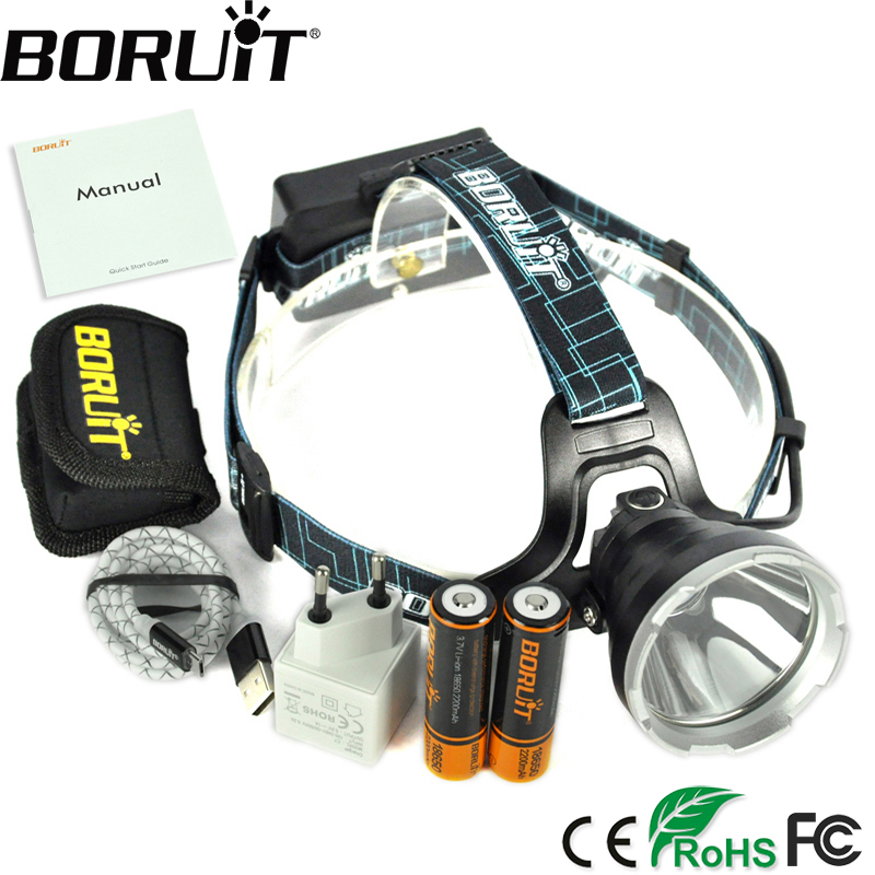 BORUIT B10 3800LM XM-L2 LED Headlamp 3-Mode Headlight Micro USB Rechargeable Head Torch Hunting Frontal Light Camping Lamp 18650 3x xm l l2 8000 lm rechargeable headlamp outdoor headlight linterna frontal for hunting 18650 battery charger usb cable