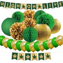 NICROLANDEE 26 pcs/set High On Live 420 Celebration Party Set New Decor  Home DIY Decoration
