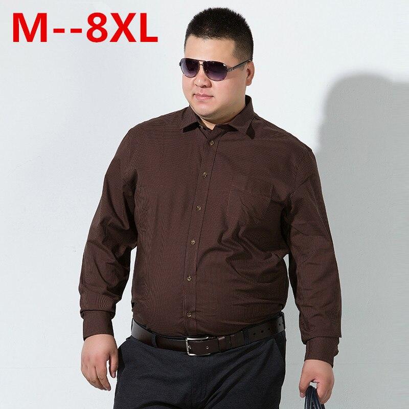 Shirts 10xl 8xl 6xl 5xl 2018 New Autumn Fashion Brand Men Clothes Loose Fit Men Long Sleeve Shirt Men Polka Dot Casual Men Shirt Social Casual Shirts