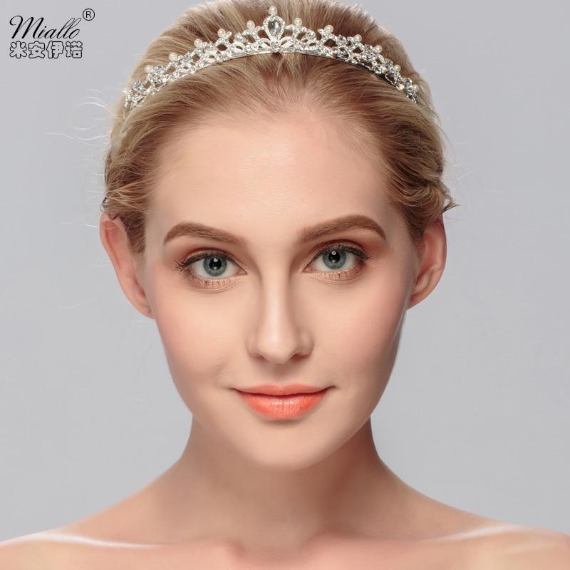 Miallo Pearl Rhinestone Tiara Crown Women Fashion Designer Hair font b Jewelry b font Trendy Bridal