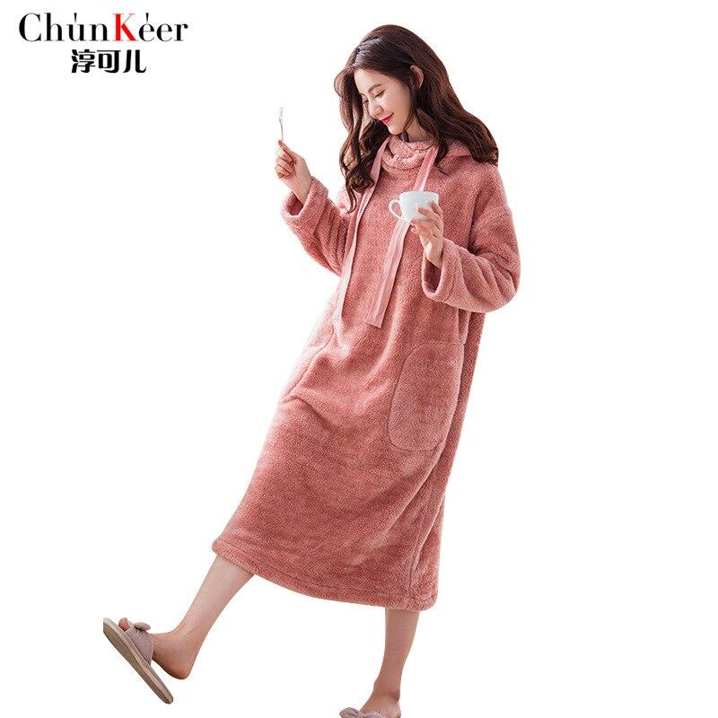 2018 New Style Women Autumn Winter Full Sleeve Cute Hooded Sleep Dress Flannel Warm Home Sleepwear